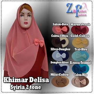 Khimar syiria delisa 2 warna model terbaru