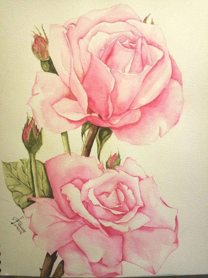 L Art De Fauve Aquarelle Pink Roses