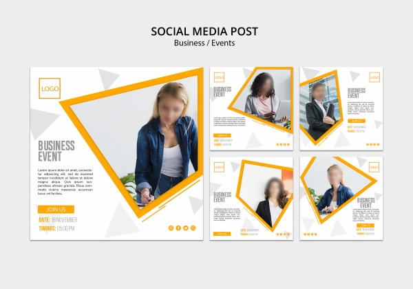 Square business brochure typographic design free psd template