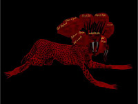 a photo of the beast of revelation as depicted in Revelation 13 (c) Erika Grey, as a scarlet colored beast with 7 to 8 heads, and the names of blasphemy on its heads with the body of a leopard and the feet of a bear and the mouth of a lion with large teeths, details were also added from the book of Daniel and Daniels Vision of the Final World Empire