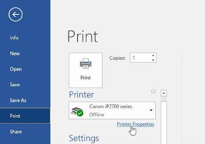 Cetak hitam putih menggunakan Printer