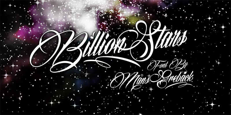 Download Kumpulan 30 Font Script Desainer grafis - Billion Stars Font