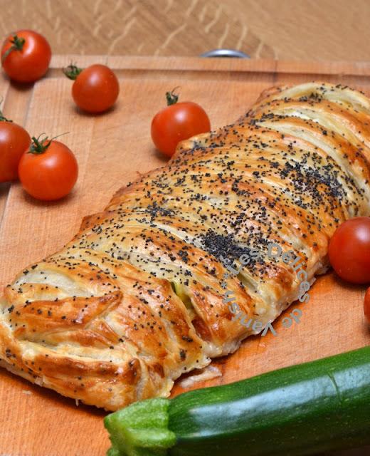 Recette Feuilleté tressé tomate courgette jambon cru