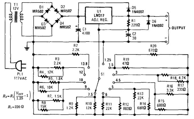 switch selected fixed voltage power supply circuit diagram