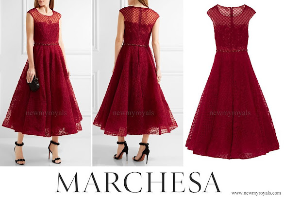 Kate Middleton wore Marchesa Notte embellished tulle midi dress