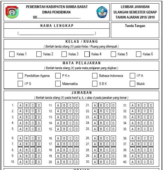 Lembar Jawaban Ulangan Semester Genap Jenjang Sekolah Dasar (SD/MI) -  Excel Terbaru