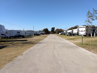 road with RVs parked on each side