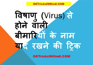 विषाणु (Virus) से होने वाली बीमारियों के नाम याद रखने की ट्रिक हिंदी में -GK Tricks in Hindi