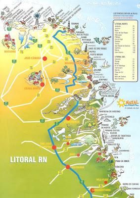 Mapa turístico do litoral do Rio Grande do Norte