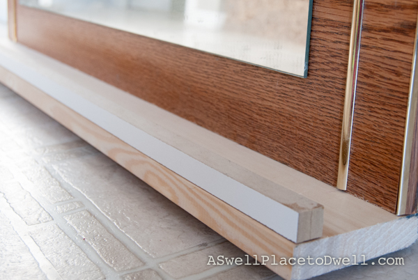 Adding a ledge to an old dresser mirror
