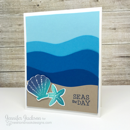 Ombre ocean card by Jennifer Jackson | Tranquil Tides stamp set & die by Newton's Nook Designs #newtonsnook