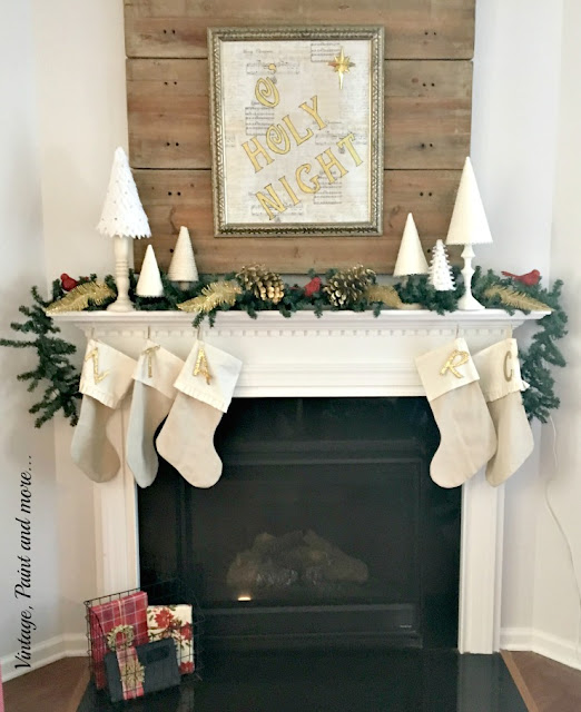 Christmas mantel done with diy projects - drop cloth stockings