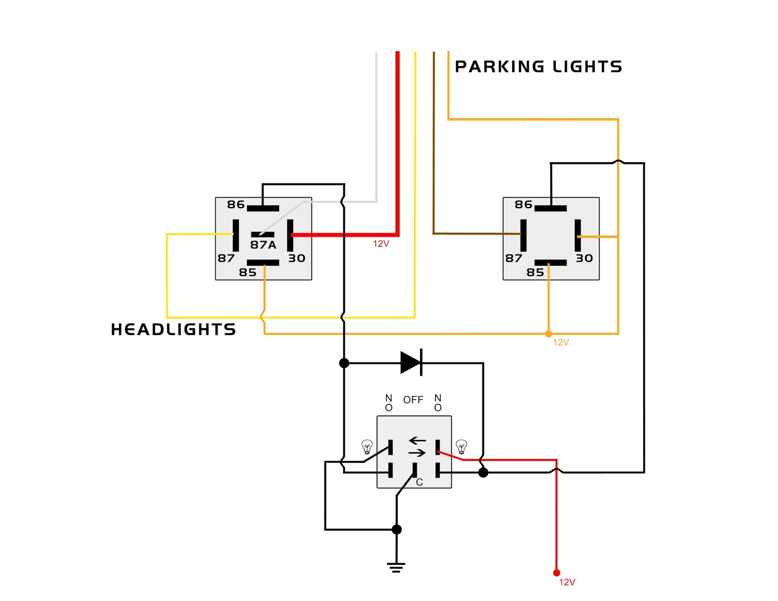 3 position toggle switch on off wiring diagram eye muscles labeled my knight rider 2000 project: parking and headlights lower console auxiliary