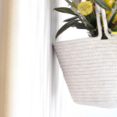 Coiled rope hanging basket
