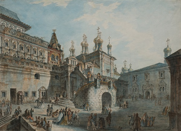 Fedor Yakovlevich Alekseev (1753-54-1824), Boyar site in the Kremlin (on the west side) - The 1800's | State Historical Museum collection | watercolors, artworks, art pictures | iconoCero