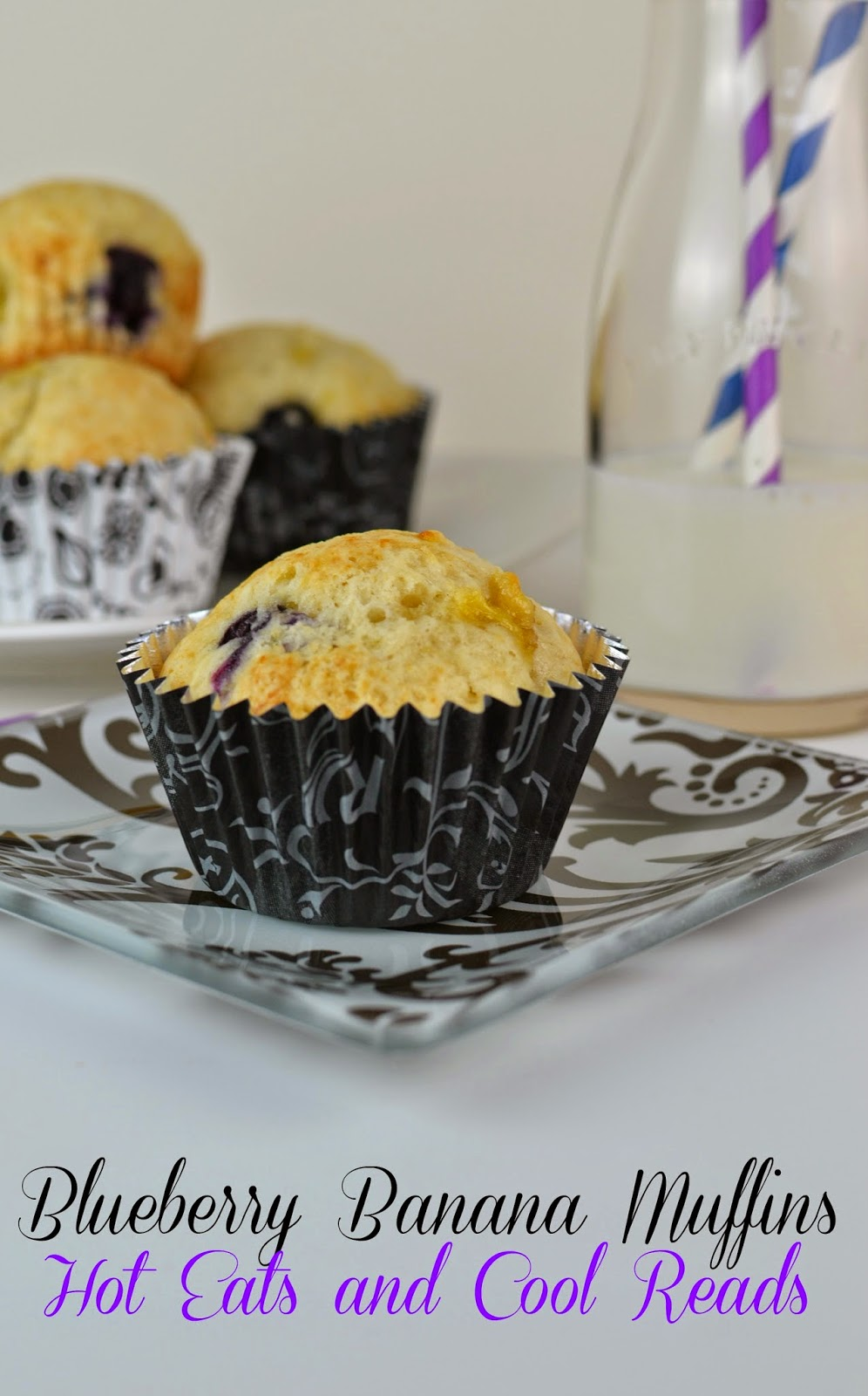 Delicious and flavorful muffins! Perfect for breakfast or a snack, especially fresh out of the oven! Blueberry Banana Muffins from Hot Eats and Cool Reads
