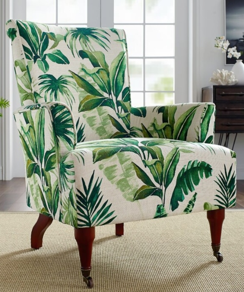 Tropical Green Leaf Upholstered Arm Chair