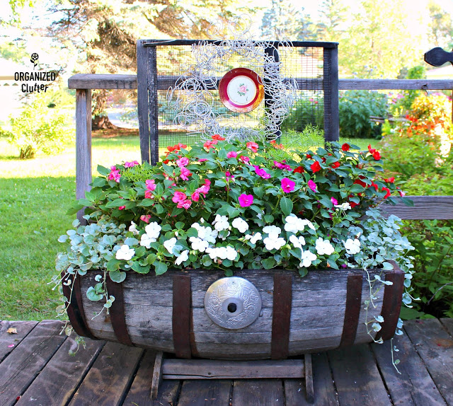 Horizontal Wooden Barrel Planter with Impatiens & Dichondra Vines