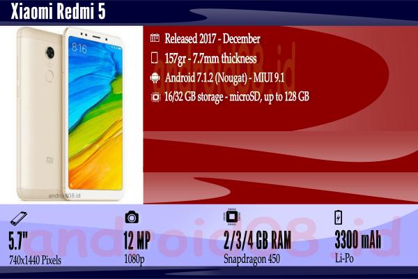 Spesifikasi Xiaomi Redmi 5