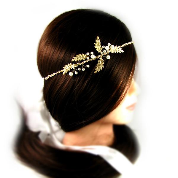 Romantyczna, złota opaska ślubna z perłami.