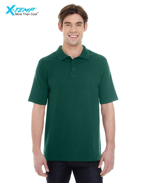Hanes 055P Mens X-Temp Pique Short-Sleeve Polo- Deep Forest – XL
