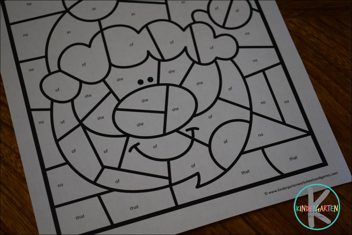 christmas color by kindergarten sight words – kindergarten