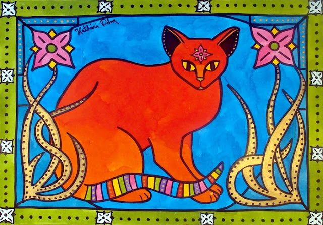 Cat Art - Indian Cat with Lilies. Cat painting by Dora Hathazi Mendes