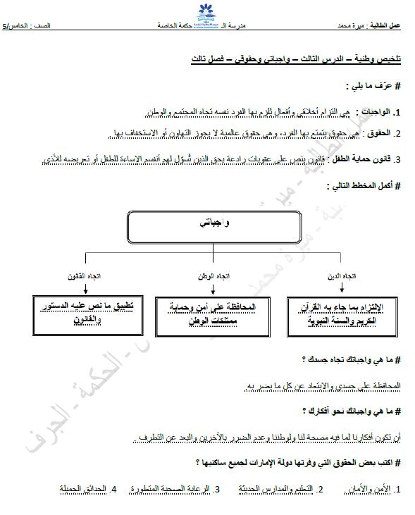 أوراق عمل درس واجباتي وحقوقي في الدراسات الاجتماعية للصف الخامس الفصل الثالث
