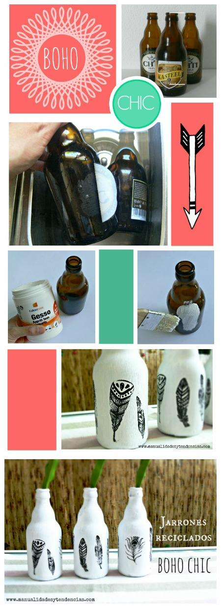 Cómo hacer transformar botellas en jarrones boho chic