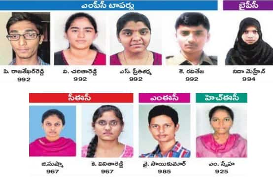 TS Intermediate 2016 Toppers Photos, Names, HighestMarks