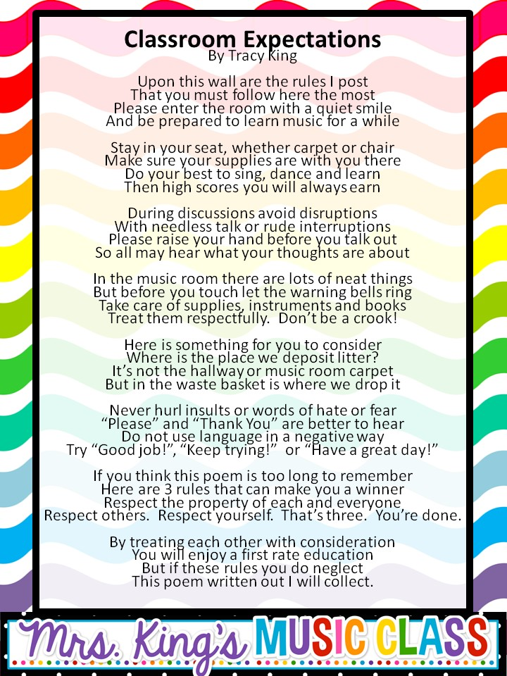 Mrs King\u0027s Music Class Classroom Management - The Rules and a Rhyme