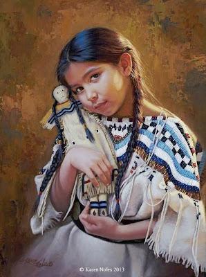 niños-indios-al-oleo