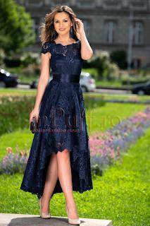 Rochie marimi mari de seara bleumarin asimetrica din tull brodat