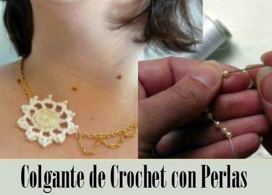 gargantilla tejida con perlas, colgante a crochet con perlas