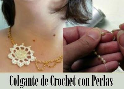 Como hacer un Colgante de Crochet con Perlas