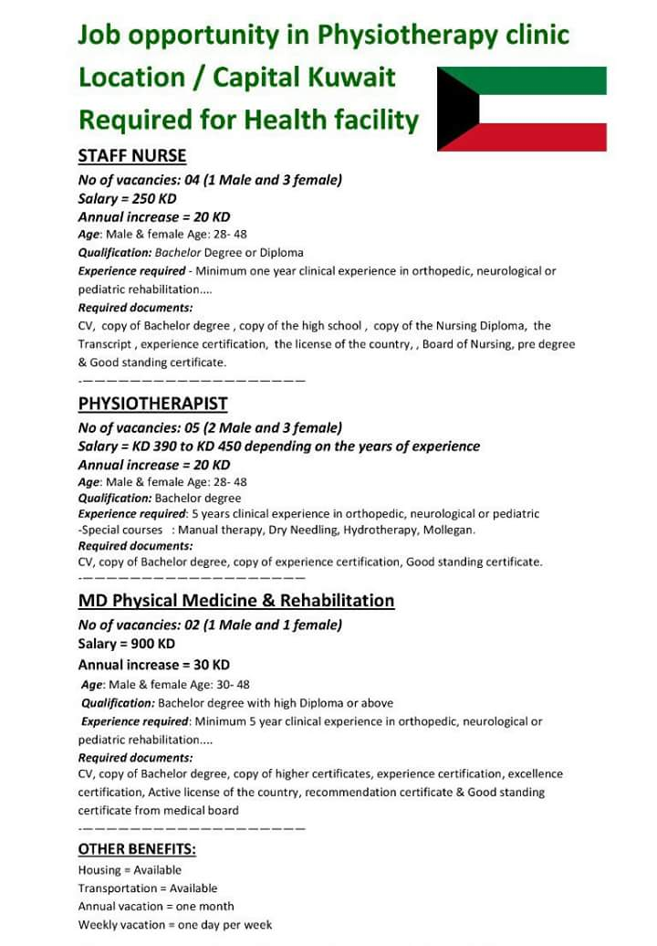 Job opportunity in Physiotherapy clinic for Staff Nurse