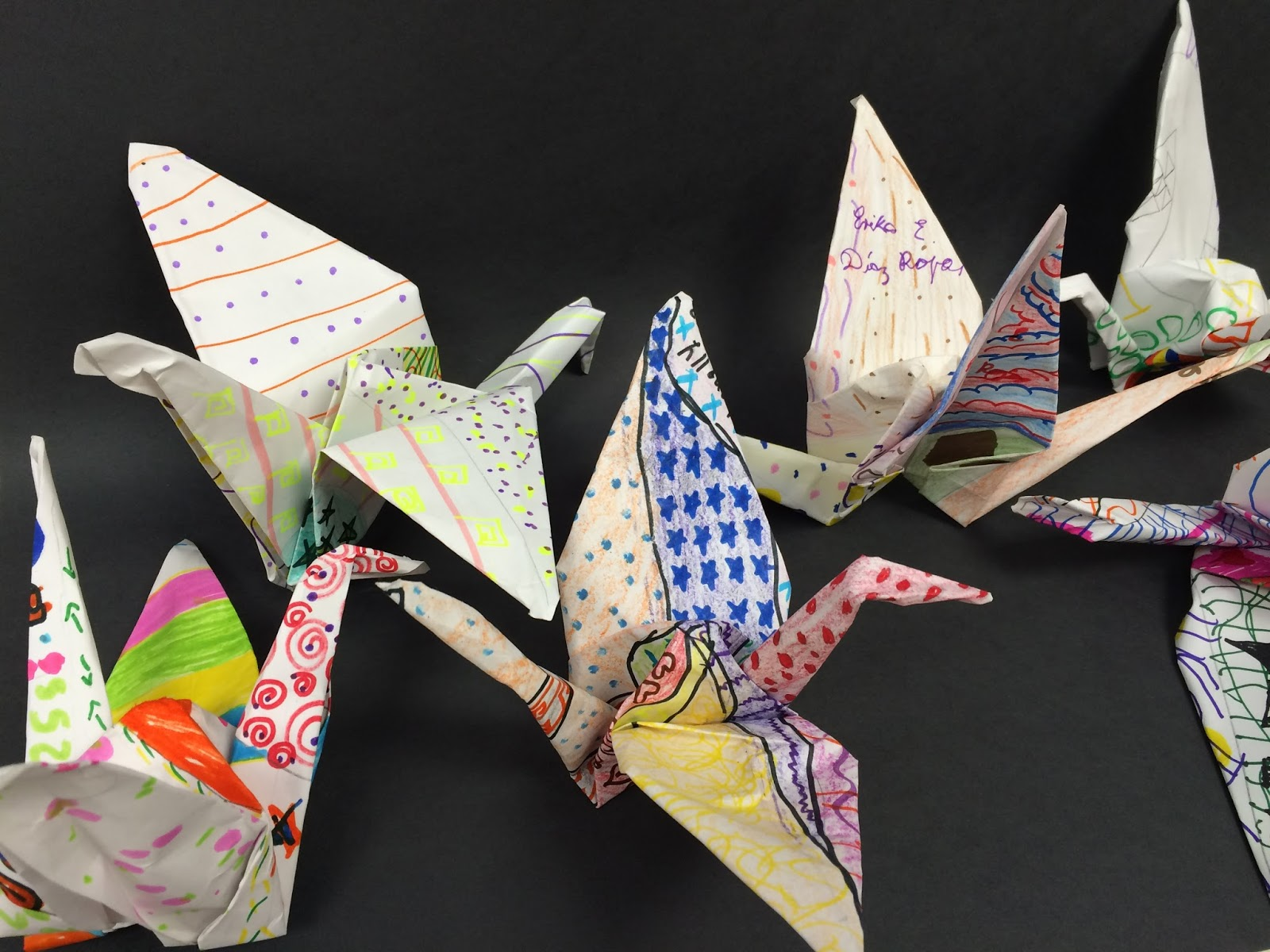 Origami Paper Crane On Decorated