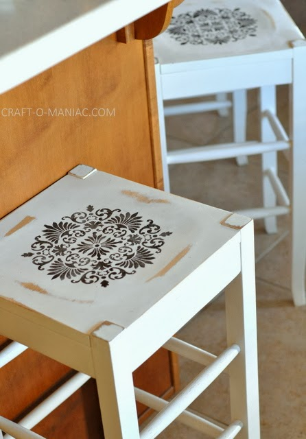 DIY Stenciled Bar Stools