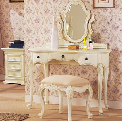 vintage style white makeup table with drawers and stool