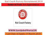 Rail Coach Factory Recruitment 2018– 195 Act Apprentices