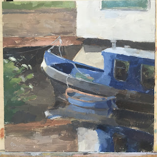 #97 'River Wey, Farncombe Boat House' 8×8″