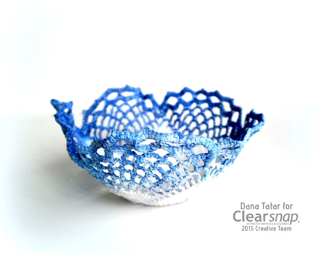 Blueberry Lace Doily Bowl by Dana Tatar for Clearsnap