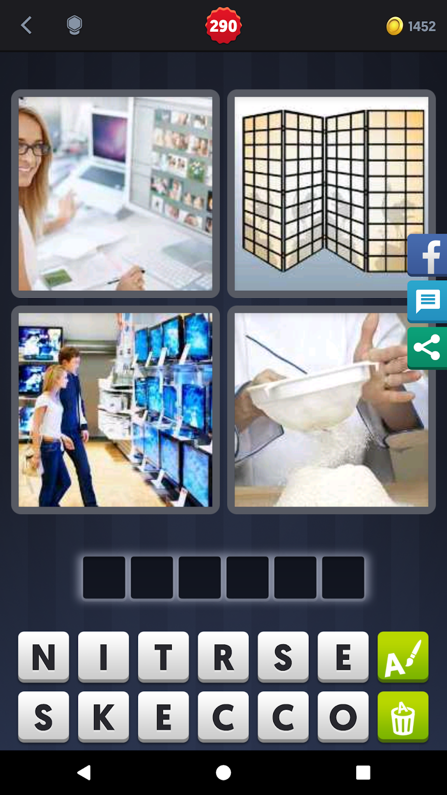 4 pics 1 word answers solutions level 290 screen keyword 6 letter word net shopping screen tv laptop computer expocarfo Images