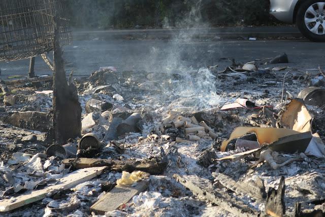 Remains of a November 5th Bonfire at 3pm on November 6th