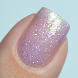 purple holo nail polish with flakies