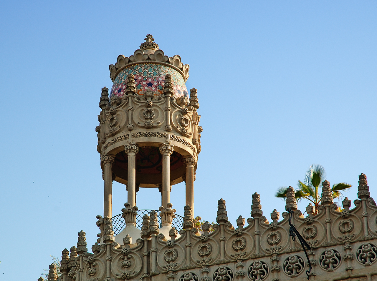 Detail of Casa Lleó i Morera at Passeig de Gracia 35, Barcelona, Spain