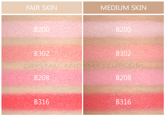 Make Up For Ever Lustrous Blush Palette Swatches B200 B302 B208 B316 Fair Medium Skin Tone