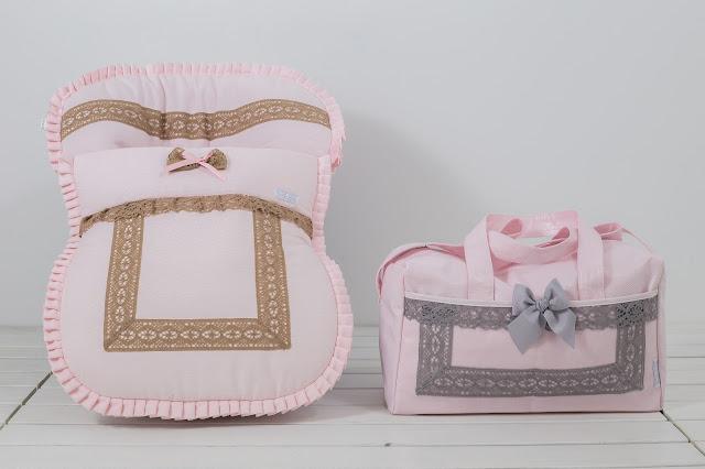 bolsa maternidad rosa gris