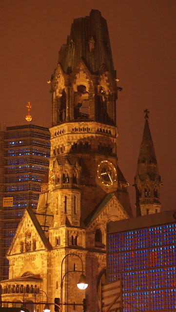 Kaiser Wilhelm Memorial Church at night in Berlin, Germany