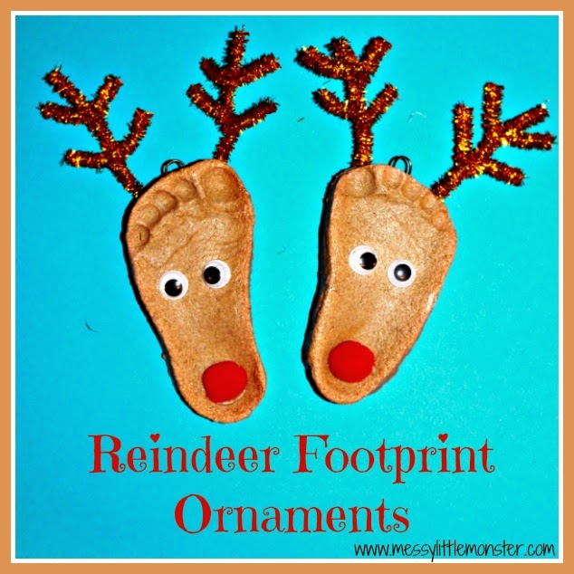 Reindeer salt dough footprint ornaments.  Christmas crafts for kids, babies, toddlers, preschoolers, early years, eyfs.